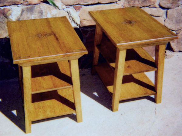 Two Matching End Tables with carving and shelves