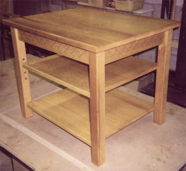 Charmant Tall End Table With Shelves And Carving From Sugar Pine