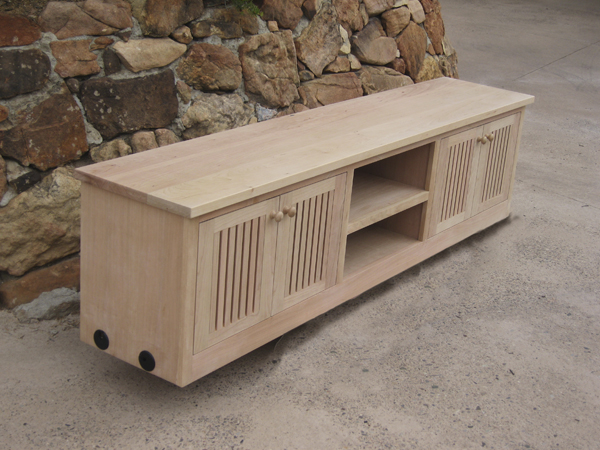 Allin TV Stand Cherry unfinished front and end view