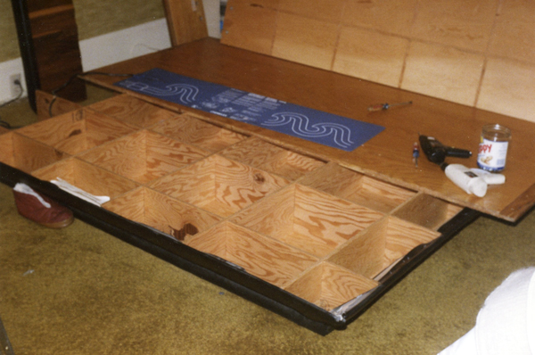 water bed base partially disassembled